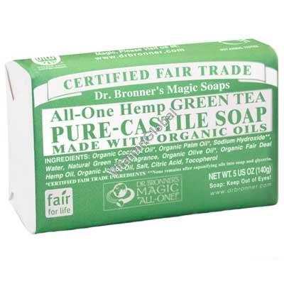 Натуральное мыло зеленый чай 140 гр - Dr. Bronner