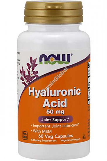 Hyaluronic Acid 50mg with MSM 60 Veg Capsules - Now Foods