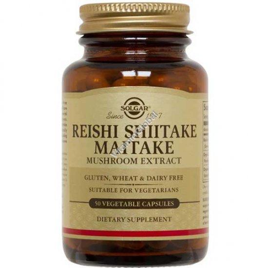Экстракт японских грибов Рейши Шитаки Мейтаки 50 вегетарианских капсул - Солгар