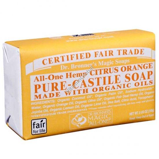 """סבון טבעי אמיתי תפוז, לימון וליים 140 גרם - ד""""ר ברונר"""