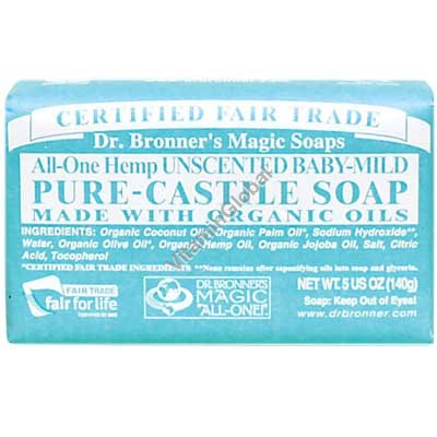 Hemp Unscented Baby-Mild Pure Castile Soap 140g (5 US OZ) - Dr. Bronner