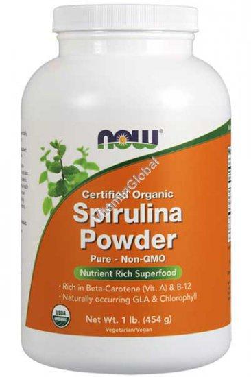 Organic Pure Spirulina Powder 1 lb (454 g) - Now Foods