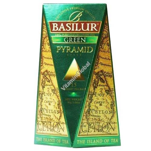 "Pure Ceylon Green Tea ""The Island of Tea"" 15 pyramid tea bags - Basilur"