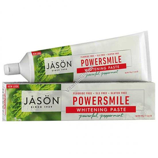 Натуральная отбеливающая зубная паста PowerSmile 170 гр - Jason