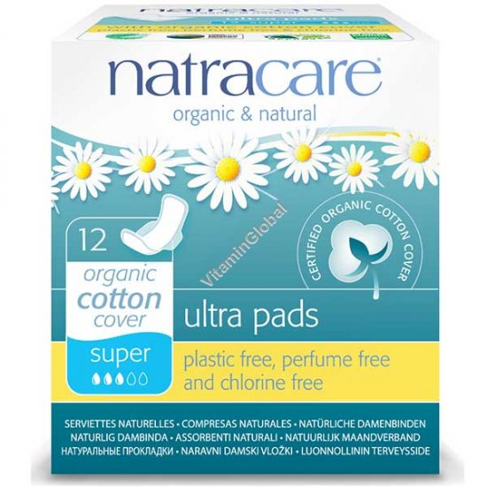 Organic & Natural Ultra Pads with Wings, Super 12 Count - Natracare