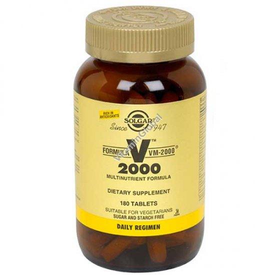 מולטי-ויטמין-מינרל VM-2000 בתוספת מזון מלא 180 טבליות - סולגאר
