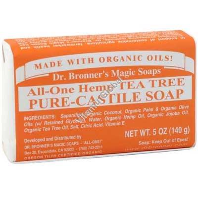"""סבון טבעי אמיתי עץ התה 140 גרם - ד""""ר ברונר"""