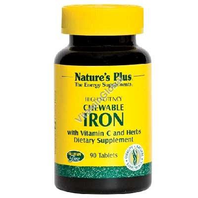 Железо с витамином С в жевательных таблетках с вишневым вкусом 90 таблеток - Nature\'s Plus