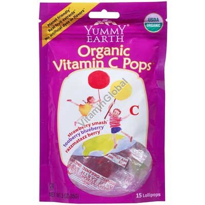 סוכריות אורגניות על מקל עם ויטמין סי 14 יח - יוממי