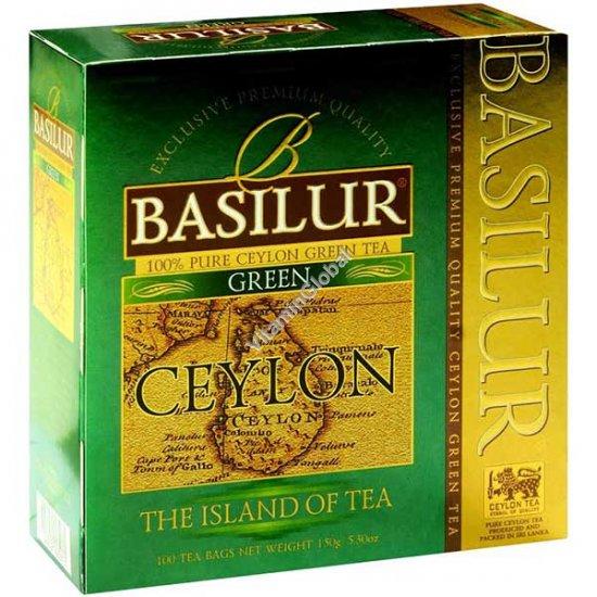 """פרימיום תה ירוק """"אי צילון"""" 100 שקיקים - בסילור"""