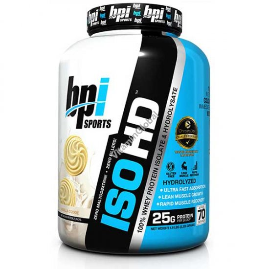 ISO HD Whey Protein Isolate & Hydrolysate Vanilla Cookie 2.240 kg - bpi Sports