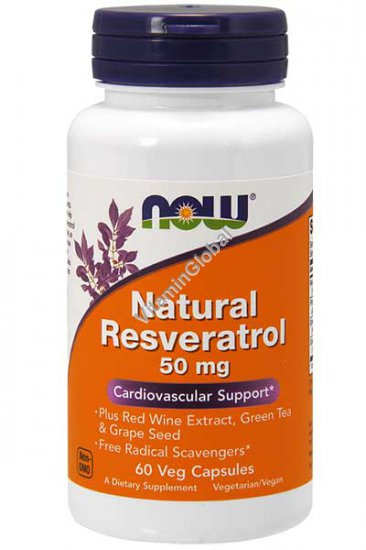 Natural Resveratrol 50mg 60 Veg Capsules - Now Foods