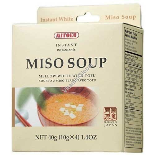 Instant Miso Soup Mellow White with Tofu 4 single servings - Mitoku